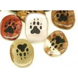 Krafttiersteine, Totemsteine-schwarz graviert- Pfote Wolf, Hund