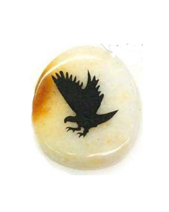 Krafttiersteine, Totemsteine - Adler- schwarz graviert