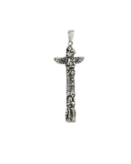 Silberanhänger - Symbole der Indianer-Totempfahl Motiv