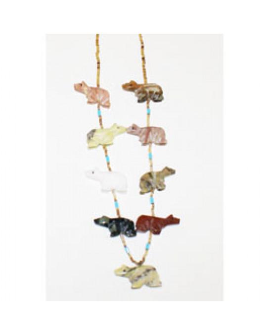 Bären Krafttierketten aus Edelsteinen und Muscheln