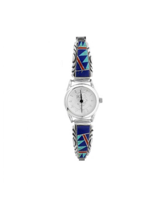 Damen Lapis/Türkis/Koralle Inlay Uhr