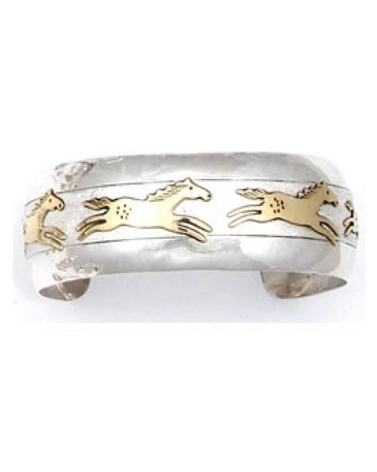 """Gold/Silber Armreif der Navajo """"Ledger Horses"""""""
