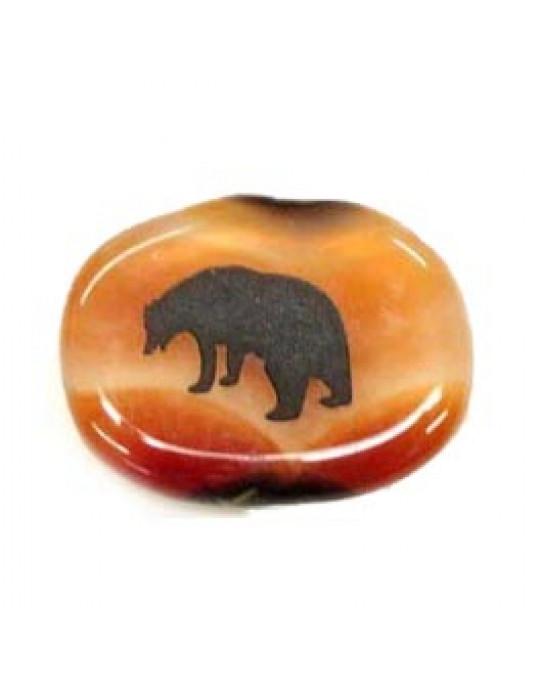 Krafttiersteine, Totemsteine-schwarz graviert Bär