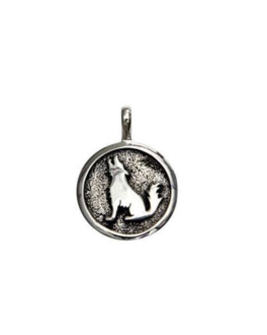 Silberanhänger -  Coyote/heulender Wolf