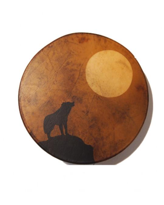 "Trommel der Lakota (Sioux) ""Wolf Shilouette"""