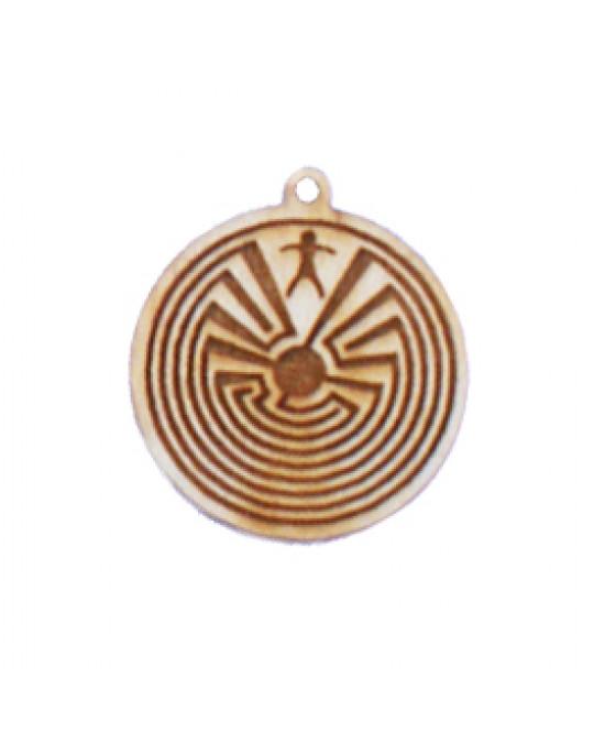 Holzamulette Symbole der Indianer-Labyrinth Motiv