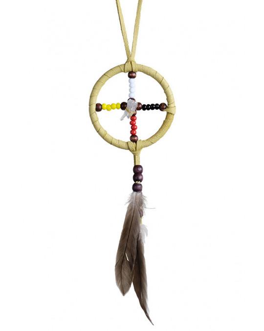 """Mini Medizinrad mit Kristall """"4 Directions"""" aus Kanada, indianische Handarbeit"""
