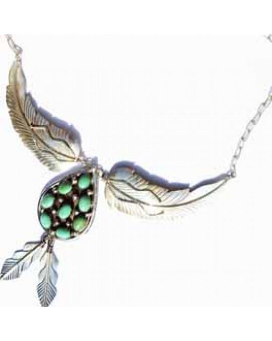 Navajo Silberschmuck: Grün-Türkiscollier in Tropfenform