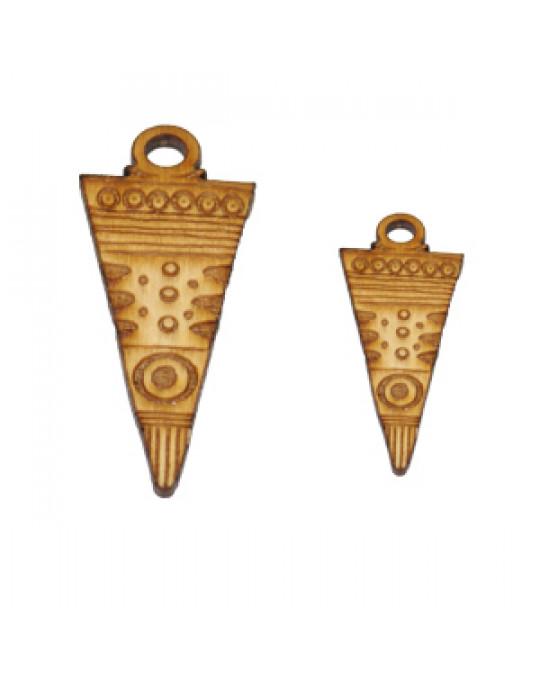Holzamulette Symbole der Indianer-Pfeilspitze verziert-gross