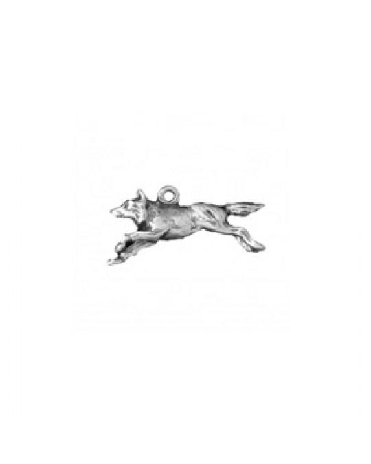 Rennender Wolf aus Silber 3-D Anhänger