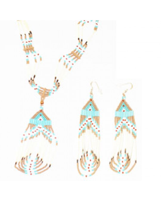 Schmuckset Kette und Ohrringe aus Lakota Handarbeit