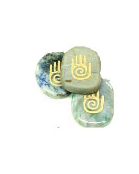 Krafttiersteine, Totemsteine Hand, gold graviert